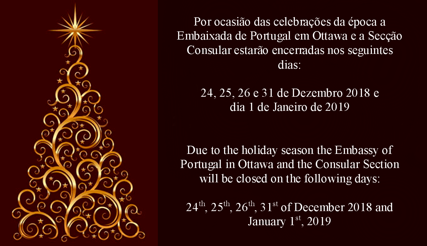 Christmas In Portugal 2019.Notice Christmas And New Year News The Embassy
